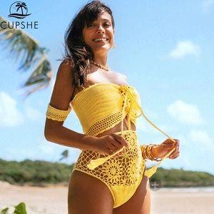 Yellow Off The Shoulder Knit Bikini